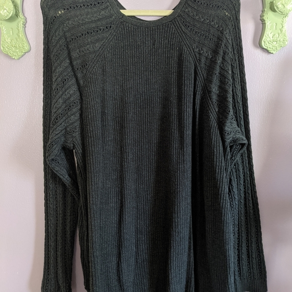 Sonoma Gray 3x Cable Knit Sweater 3x